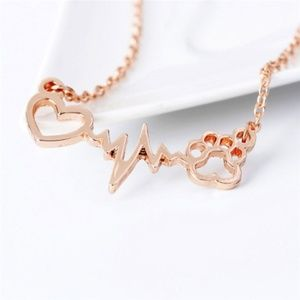 Jewelry - Dog Paw Heartbeat Love Necklace Rose Gold Gold B18